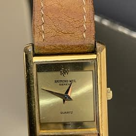 Raymond weil ladies 14 ct brown strap